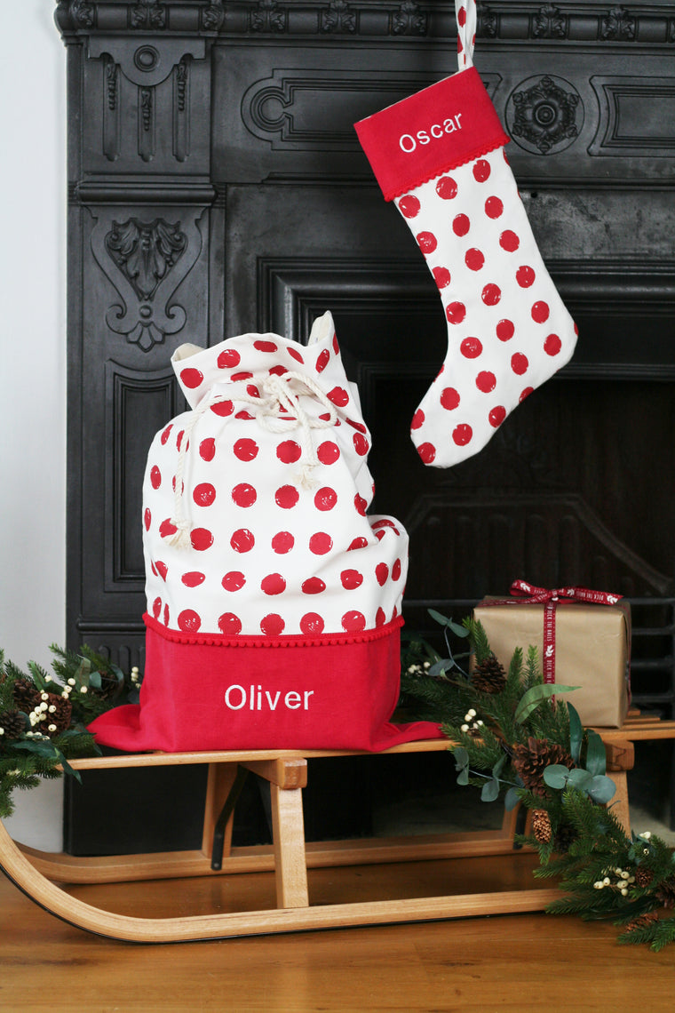 Personalised Christmas Stocking and Santa Sack Set RED SPOTS - HIDE & SEEK TEXTILES