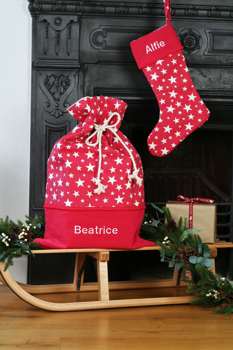 Personalised Christmas Stocking and Santa Sack Set STARS - HIDE & SEEK TEXTILES