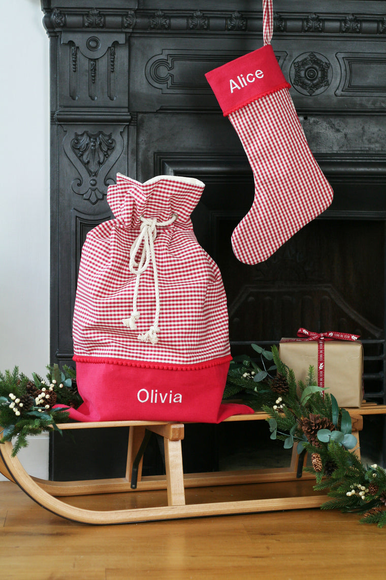 Personalised Christmas Stocking and Santa Sack Set CHECKS - HIDE & SEEK TEXTILES