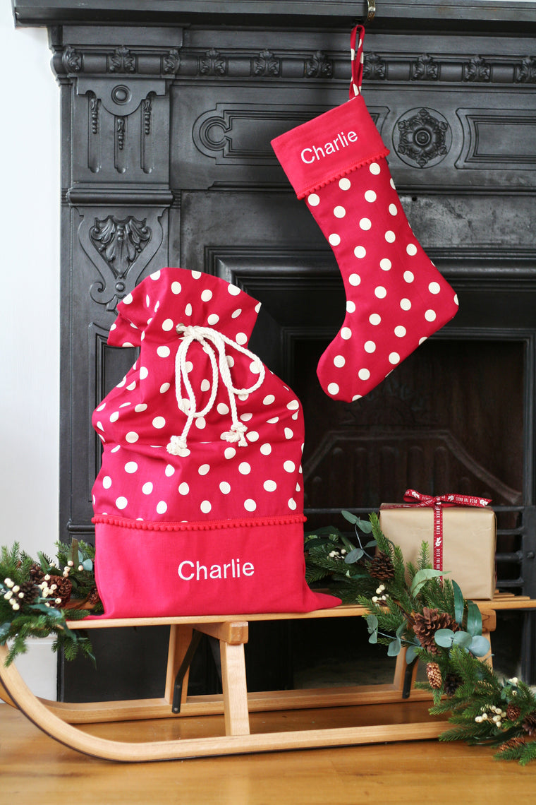 Personalised Christmas Stocking and Santa Sack Set WHITE SPOTS - HIDE & SEEK TEXTILES