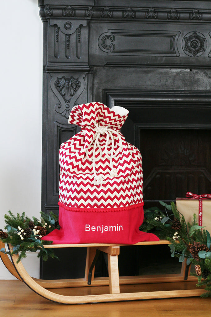 Personalised Santa Sack CHEVRONS - HIDE & SEEK TEXTILES