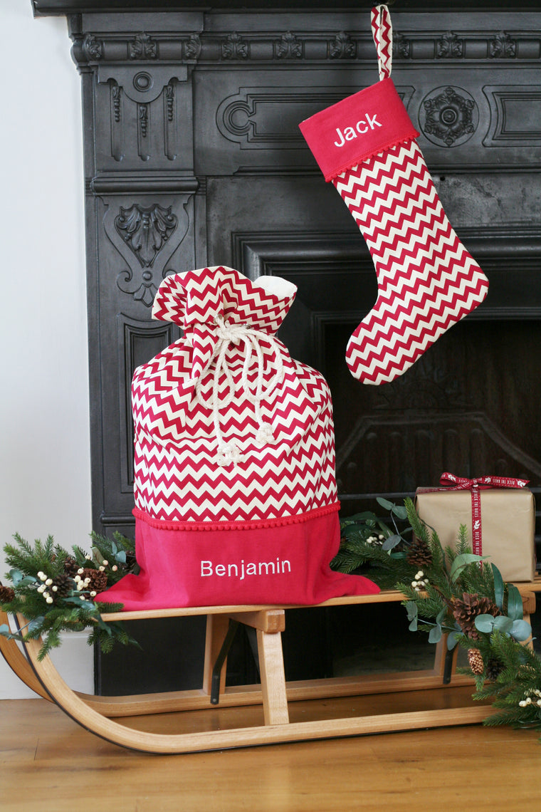 Personalised Christmas Stocking and Santa Sack Set CHEVRONS - HIDE & SEEK TEXTILES