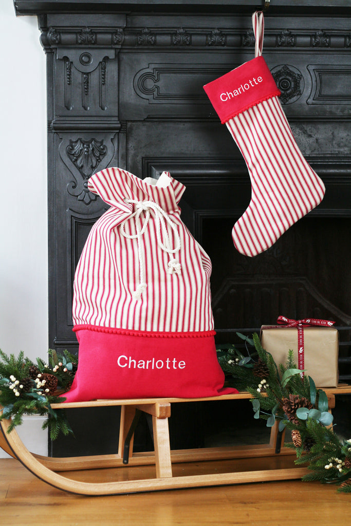 Personalised Christmas Stocking and Santa Sack Set STRIPES - HIDE & SEEK TEXTILES