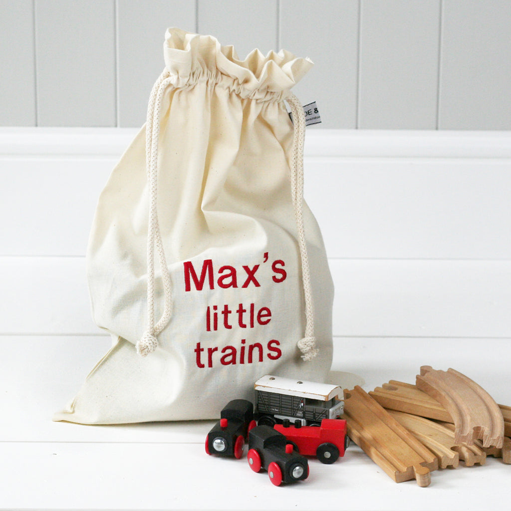 Personalised 'Little Trains' Travel Sack - HIDE & SEEK TEXTILES