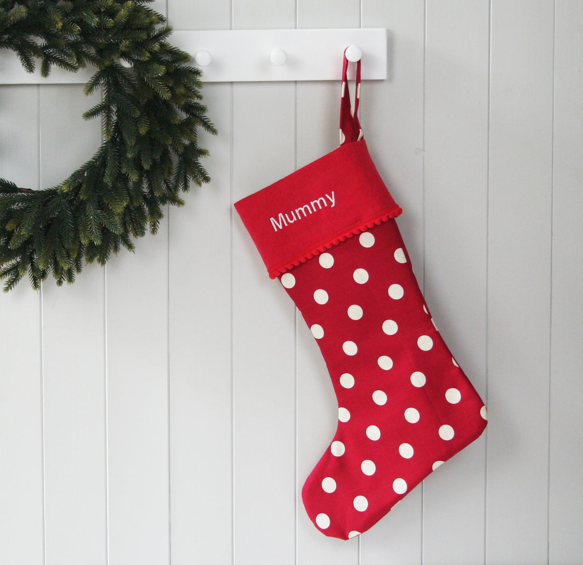 Personalised Christmas Stocking WHITE SPOTS - HIDE & SEEK TEXTILES