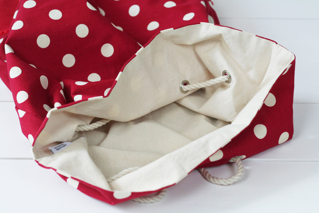Personalised Santa Sack WHITE SPOTS - HIDE & SEEK TEXTILES