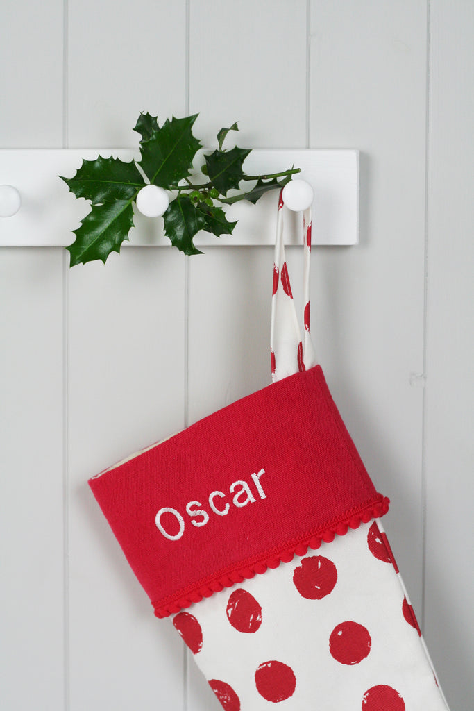 Personalised Christmas Stocking RED SPOTS - HIDE & SEEK TEXTILES