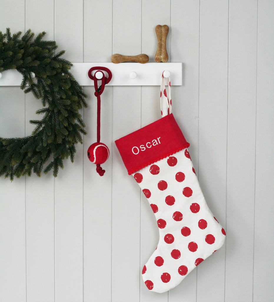 Personalised Pets Christmas Stocking RED SPOTS - HIDE & SEEK TEXTILES