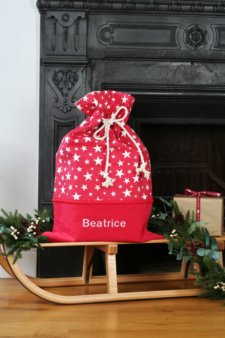 Personalised Santa Sack STARS - HIDE & SEEK TEXTILES
