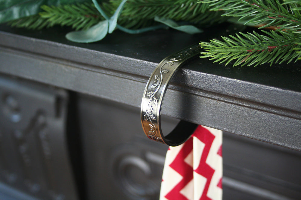 Mantle Clip For Christmas Stockings Antique Brass Hide Seek Textiles