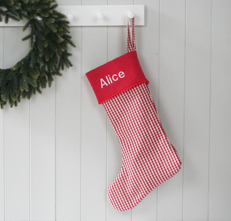 Personalised Christmas Stocking CHECKS - HIDE & SEEK TEXTILES