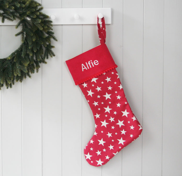 Personalised Christmas Stocking STARS - HIDE & SEEK TEXTILES