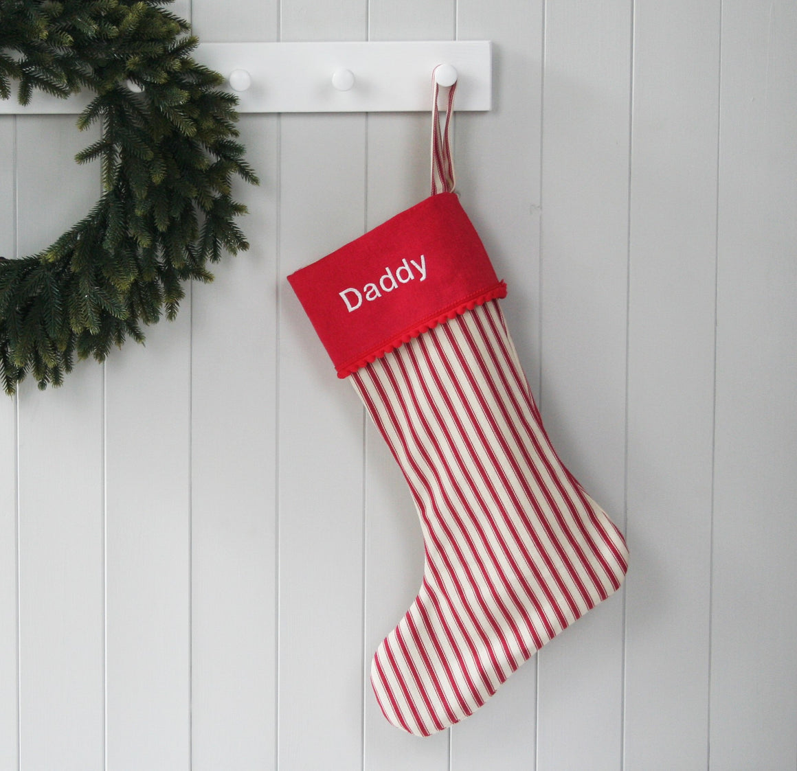 Personalised Christmas Stocking STRIPES - HIDE & SEEK TEXTILES