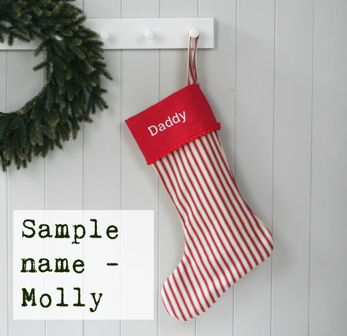 Sample Christmas Stocking MOLLY - HIDE & SEEK TEXTILES