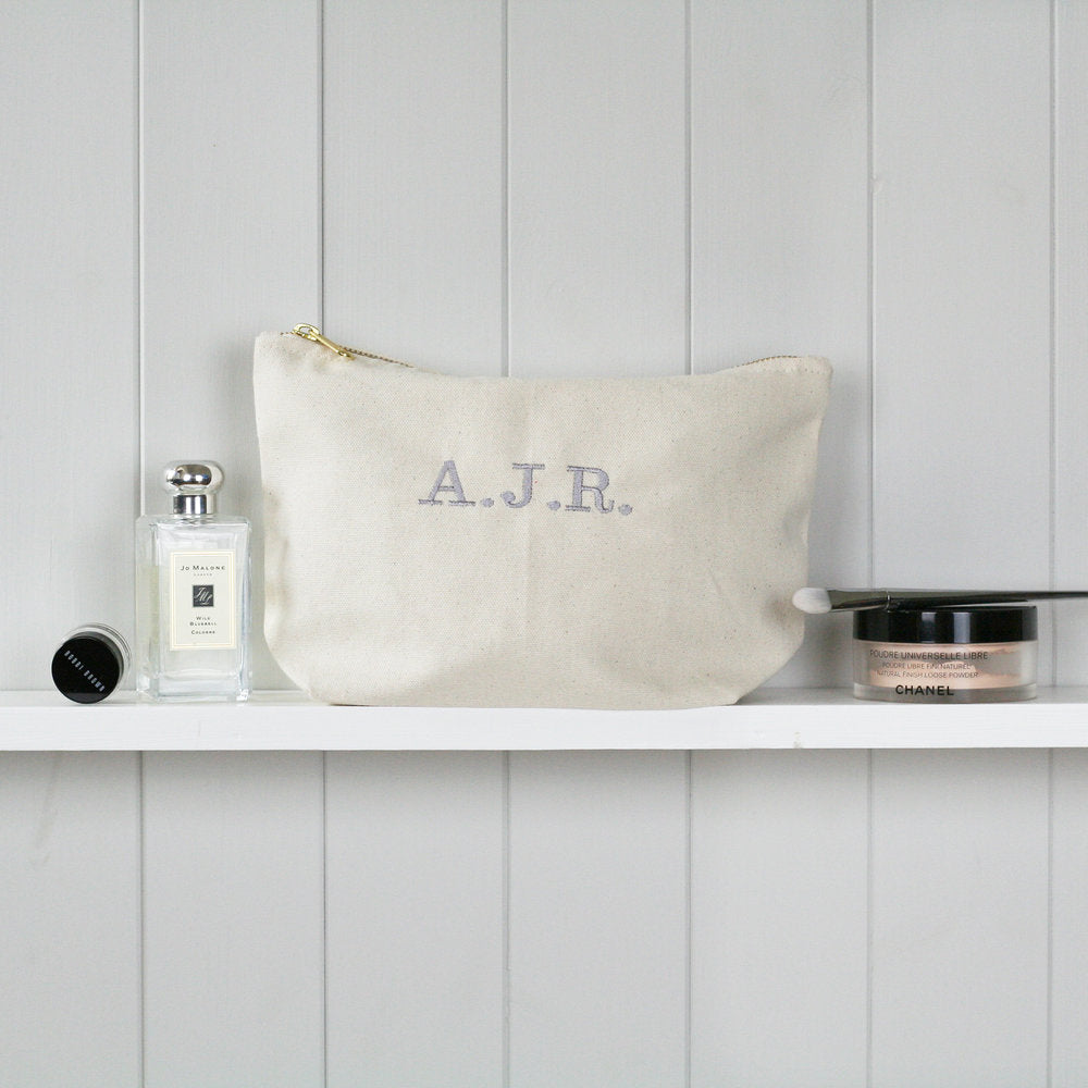 Personalised 'Initials' Zip Make Up Bag - HIDE & SEEK TEXTILES