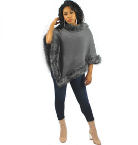 Plushy Couture Poncho grey