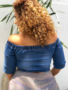 Zip Me Up Off The Shoulder denim jacket in regular & plus sizes at Plushy Couture