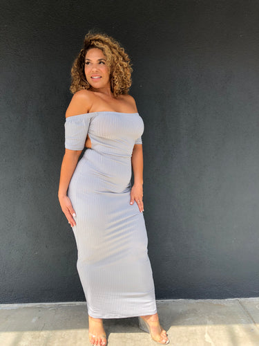 The Sophia Dress - Grey in regular and plus sizes at Plushy Couture