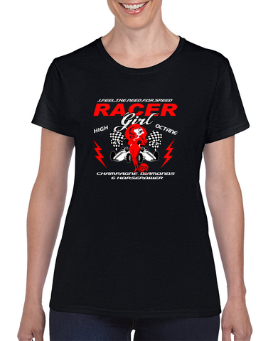 Racer Girl / High Octane / Champagne Diamonds Horsepower T Shirt