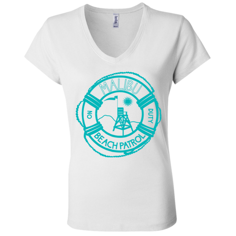 Malibu Beach Patrol - B6005 Bella + Canvas Ladies' Jersey V-Neck T-Shirt