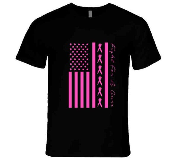 Fight For A Cure Ribbon American Flag T Shirt