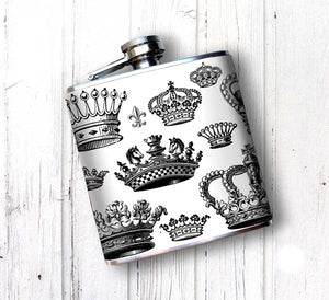 Oso and Bean Vintage Antique Kings and Queens Crowns Designer Art Hip Flask