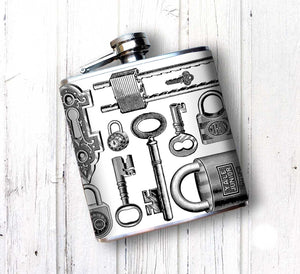 Oso and Bean Vintage Antique Locks and Keys Designer Art Hip Flask