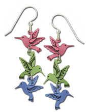 Sienna Sky 3-Part Hummingbird Pastel Pink Green Blue Dangle Earrings