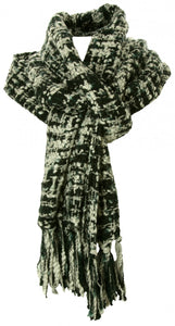 Handmade Thai Woven Black and White Scarf