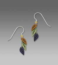 Sienna Sky Triple Leaf Purple Green Tan Hand Painted Earrings