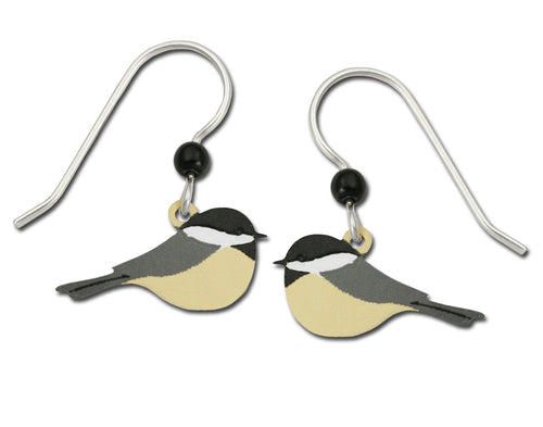 Sienna Sky Black Capped Chickadee Bird Hand Painted Earrings