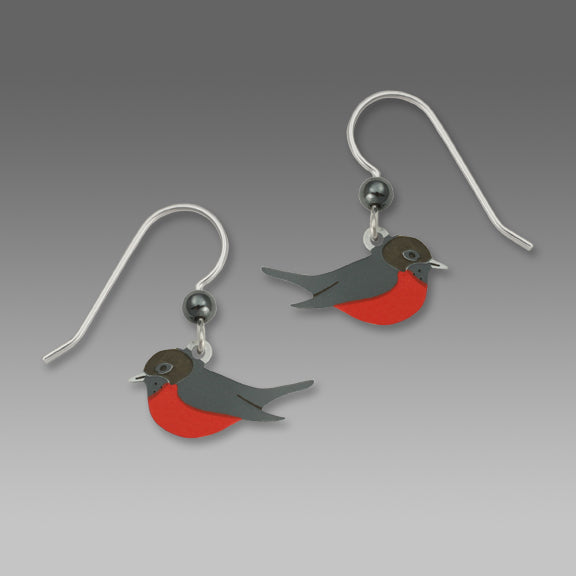 American Robin Red Breasted Bird Hand Painted Earrings
