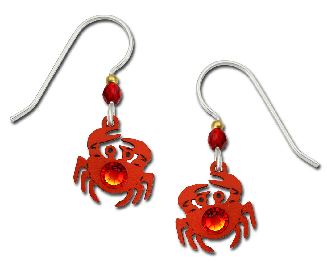 Sienna Sky Red Crab with Rhinestone Hand Painted Earrings