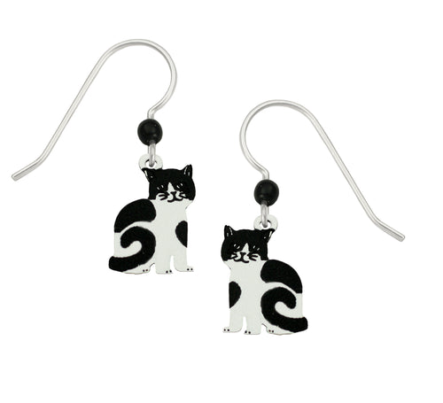Sienna Sky Black and White Tuxedo Cat Hand Painted Earrings