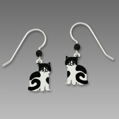 Black and White Tuxedo Cat Hand Painted Earrings