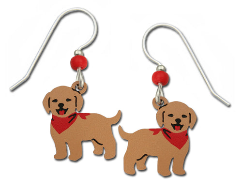Sienna Sky Golden Retriever Puppy Dog with Red Bandana Hand Painted Earrings