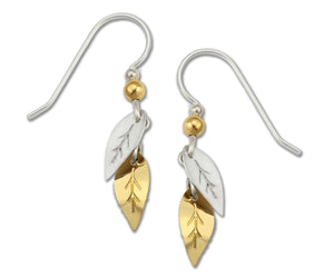 Sienna Sky Double Leaves Gold and Silvertone Handmade Earrings