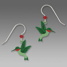 Green and Red Hummingbird Hand Painted Earrings