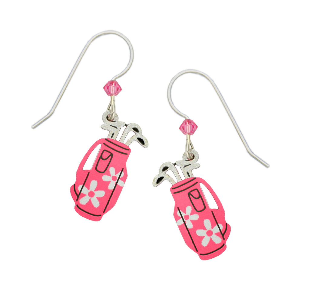 Sienna Sky Pink Daisy Womens Golf Bag Hand Painted Earrings