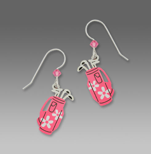 Pink Daisy Womens Golf Bag Hand Painted Earrings