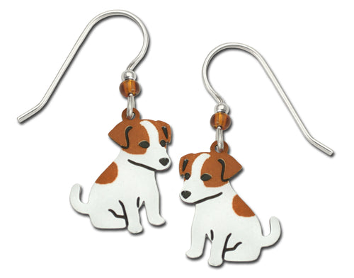 Sienna Sky Jack Russell Terrier Puppy Dog Hand Painted Earrings
