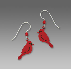 Red Cardinals in Profile Bird Hand Painted Earrings