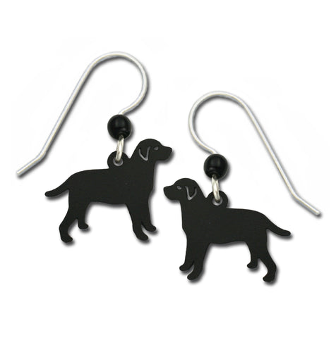 Sienna Sky Shadow Black Lab Labrador Retriever Dog Hand Painted Earrings