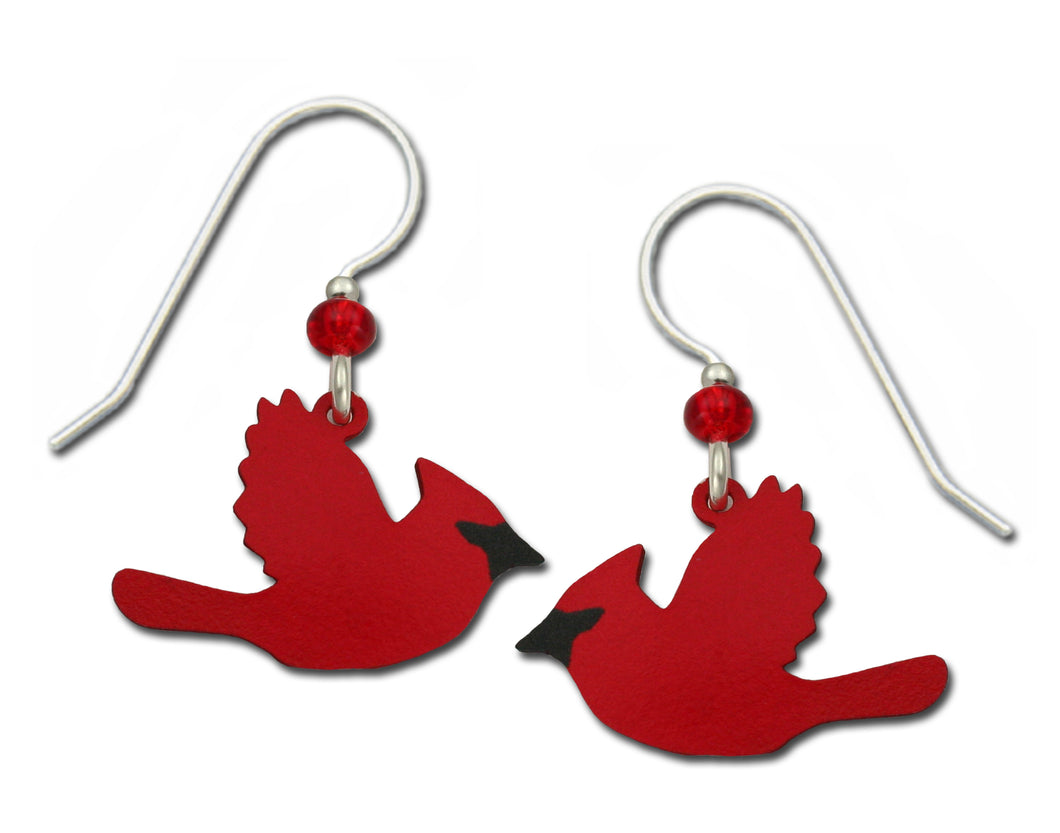 Sienna Sky Red Cardinals in Flight Bird Hand Painted Earrings