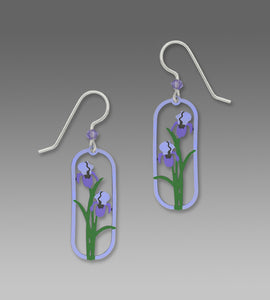 Sienna Sky Two Tone Purple Iris Framed Flower Hand Painted Earrings