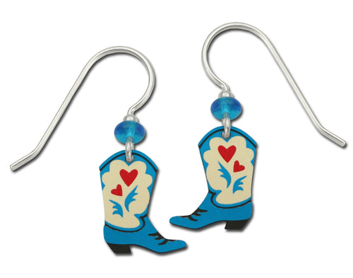 Sienna Sky Cowgirl Cowboy Western Boots with Red Hearts Hand Painted Earrings