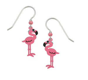 Pink Flamingo with Sunglasses Hand Painted Earrings