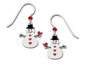 Sienna Sky Snowman and Red Cardinal Hand Painted Earrings
