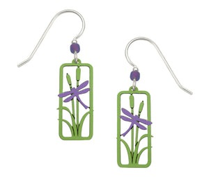 Sienna Sky Purple Dragonfly and Cattails Hand Painted Earrings