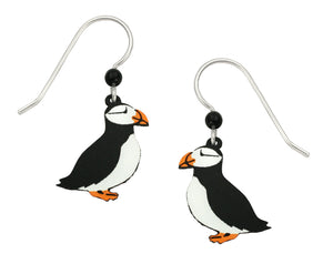 Sienna Sky Horned Puffin Bird Hand Painted Earrings